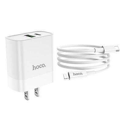 Bộ Củ Sạc Hoco C80 + Cáp Sạc Lightning - Hỗ trợ sạc nhanh QC3.0 - Hàng Chính Hãng