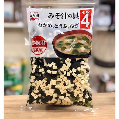 Canh Miso ăn liền (Rong biển, đậu hũ, hành lá) Nagatanien Instant Miso Soup Ingredients (Wakame, Tofu, Green Onion) 100g