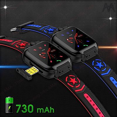 Đồng hồ Thông minh Trẻ em Định vị Wifi Chống nước IP67 pin khỏe 730mAh Model AMA Watch DS60 2 màu Đen có viền Xanh, Đỏ cá tính Hàng nhập khẩu