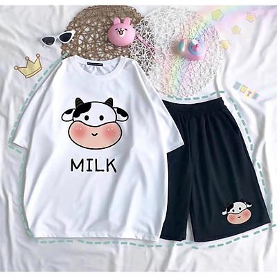 Set Áo Thun Ngắn Tay Bò Sữa Milk Chất Đẹp + Quần Đùi,Sét Đồ Bộ Nam Nữ Unisex Freesize