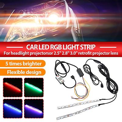 "2pcs/set(Bluetooth APP Control-Universal)5W 100lm RGB Car LED Light Strip Demon Devil Eye Halo Ring DC12V For Headlight Projectors or 2.5"" 2.8"" 3.0"" Retrofit Projector Lens"
