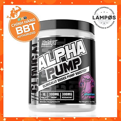 Nutrex Alpha Pump, Pre-Workout Tăng Sức Mạnh, Sức Bền, Tỉnh Táo Tập Trung, Không Chứa Caffeine, Phù Hợp Sử Dụng Khi Tập Luyện Ban Đêm Không Gây Mất Ngủ (20 lần dùng)