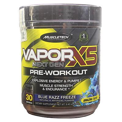 Pre-Workout Vapor X5 của MuscleTech hương Blue Razz Freeze hộp 30 lần dùng hỗ trợ Tăng Sức Bền, Sức Mạnh, Đốt Mỡ, Giảm Cân mạnh mẽ cho người tập GYM