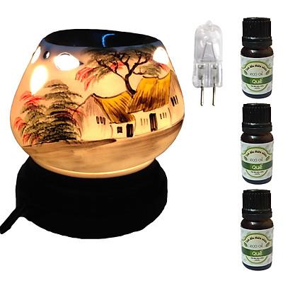 3 tinh dầu quế Eco 10ml và đèn xông tinh dầu tam giác làng quê và 1 bóng đèn