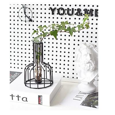 Bình cắm hoa nghệ thuật khung kim loại kèm ống đựng nước- Lọ trồng cây thủy sinh trong suốt để bàn làm việc, bàn khách, bàn trang điểm, bàn ăn..., chọn màu theo ý- Lọ cắm hoa - Bình đựng bông phong cách mới hiện đại