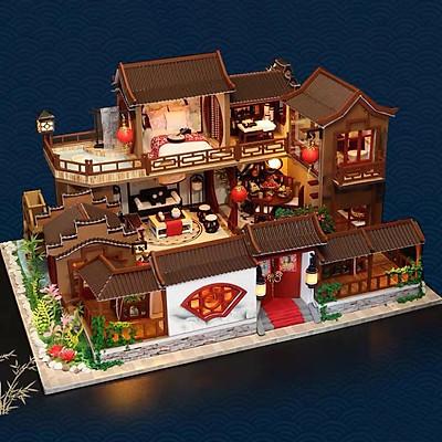Mô hình nhà DIY Doll House A Splendid Family Kèm Đèn LED và Mica chống bụi
