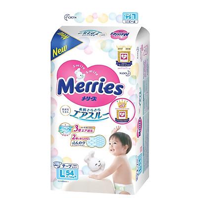 Bộ 3 bỉm dán Merries siêu mịn, siêu thoáng cho bé size L54 (9-14kg) 54 miếng - Nội địa Nhật Bản