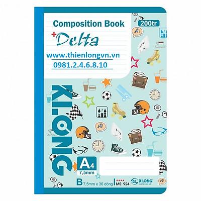 Sổ may dán gáy A4 - 200 trang; Klong 924 xanh biển