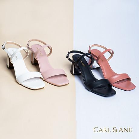 Gia y sandal Erosska thời trang nư mu i vuông phô i quai ngang kiê u da ng đơn gia n cao 7cm CS005 7