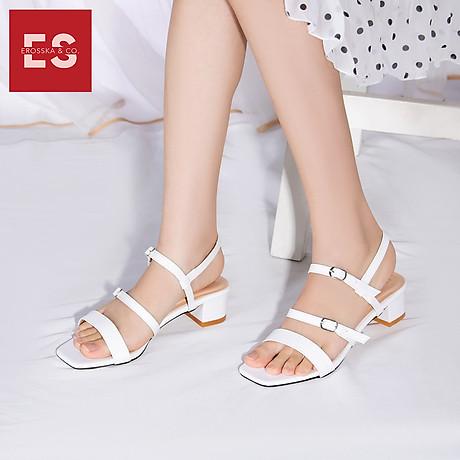 Gia y sandal cao gót Erosska thơ i trang mũi vuông phô i dây quai ma nh cao 3cm EB018 8