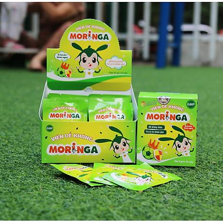 Viên đề kháng Moringa - Giúp tăng sức đề kháng, giảm nguy cơ mắc các bệnh đường hô hấp cho trẻ em - Hộp 8 gói 5