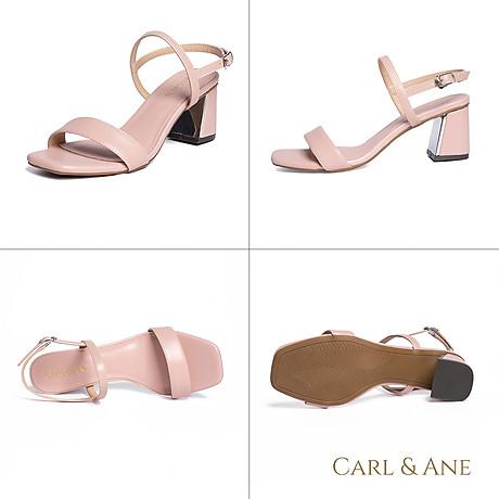 Gia y sandal Erosska thời trang nư mu i vuông phô i quai ngang kiê u da ng đơn gia n cao 7cm CS005 3