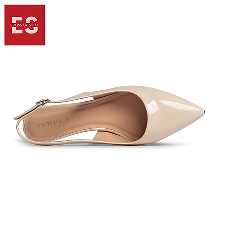 Giày nư , gia y cao gót slingback Erosska mũi nhọn da bóng kiểu dáng basic cao 4cm - EL012 4