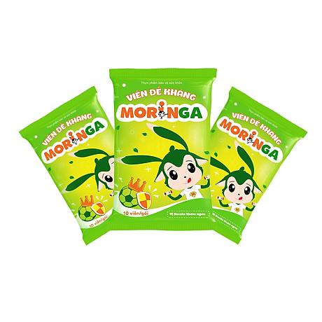 COMBO 2 Hộp Viên đề kháng Moringa - Giúp tăng sức đề kháng, phòng tránh các bệnh thường gặp ở trẻ em - Hộp 8 gói 5