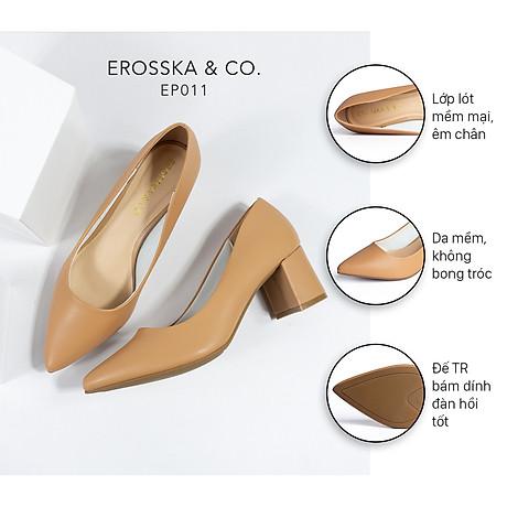 Gia y cao go t Erosska thời trang mũi nho n go t vuông kiê u da ng cơ ba n cao 5cm EP011 2