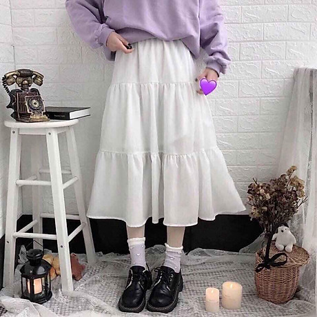 Chân váy xòe 2 tầng cạp chun dáng dài vải voan 2 lớp freesize xinh xắn thoải mái 5