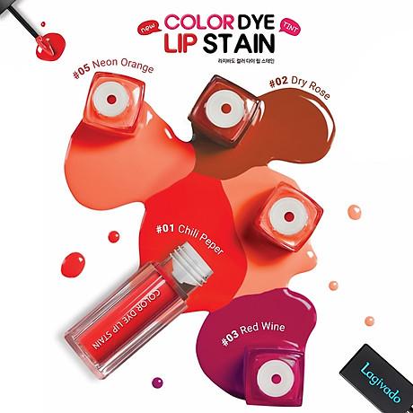 Son kem lì lên màu chuẩn, lâu trôi Hàn Quốc Lagivado Color Dye Lip Stain dạng nước 4,5 gram 04 màu son 4