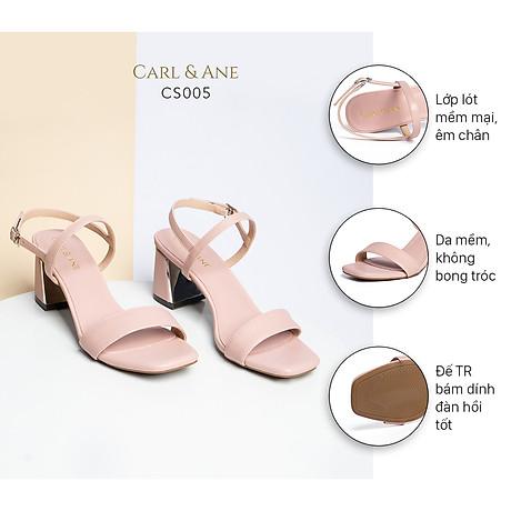 Gia y sandal Erosska thời trang nư mu i vuông phô i quai ngang kiê u da ng đơn gia n cao 7cm CS005 2