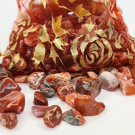 Túi Tài Lộc đá Thạch Anh Đỏ 100g 4