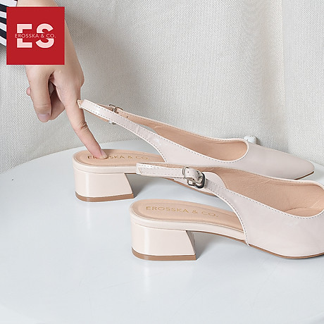 Giày nư , gia y cao gót slingback Erosska mũi nhọn da bóng kiểu dáng basic cao 4cm - EL012 6