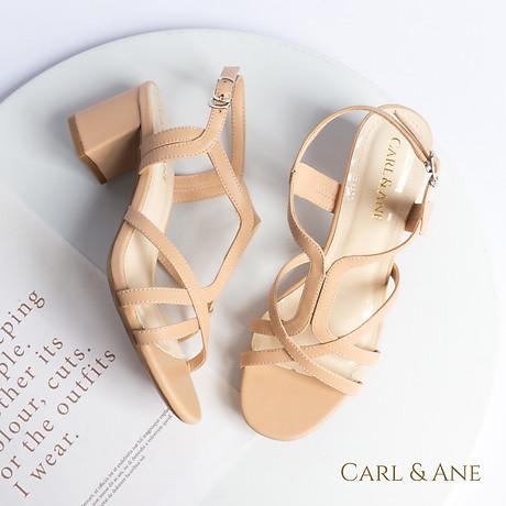 Gia y sandal phô i dây thời trang Erosska mu i vuông gót cao 5cm CS002 4