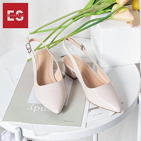 Giày nư , gia y cao gót slingback Erosska mũi nhọn da bóng kiểu dáng basic cao 4cm - EL012 7