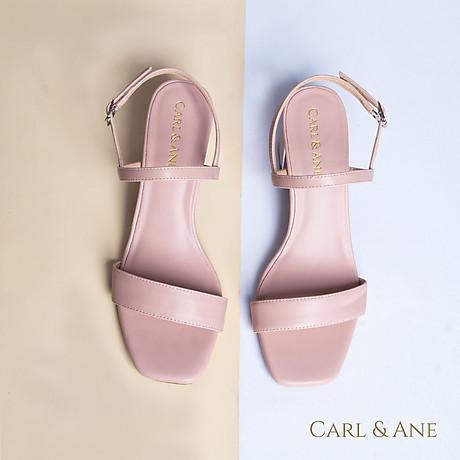 Gia y sandal Erosska thời trang nư mu i vuông phô i quai ngang kiê u da ng đơn gia n cao 7cm CS005 5