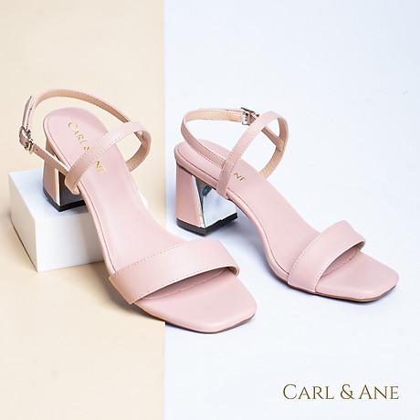 Gia y sandal Erosska thời trang nư mu i vuông phô i quai ngang kiê u da ng đơn gia n cao 7cm CS005 6
