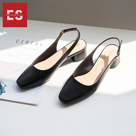 Giày nư , gia y cao gót slingback Erosska mũi vuông kiểu dáng basic gót vuông vững chắc cao 5cm - EL013 7