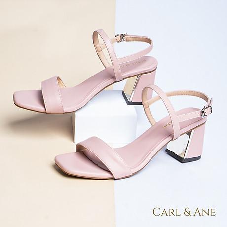 Gia y sandal Erosska thời trang nư mu i vuông phô i quai ngang kiê u da ng đơn gia n cao 7cm CS005 4