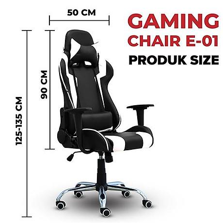 BG Ghế chơi game Mẫu E01 (Red Black) chân xoay 360 độ, ngả 165 độ (hàng nhập khẩu) 3