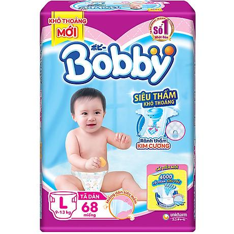 Tã Dán Bobby Siêu Mỏng Thấm Gói Siêu Lớn L68 (68 Miếng) 2