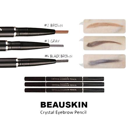 Chì kẻ chân mày Beauskin Crystal Eyebrow Pencil Hàn Quốc 01 Black tặng móc khóa 2