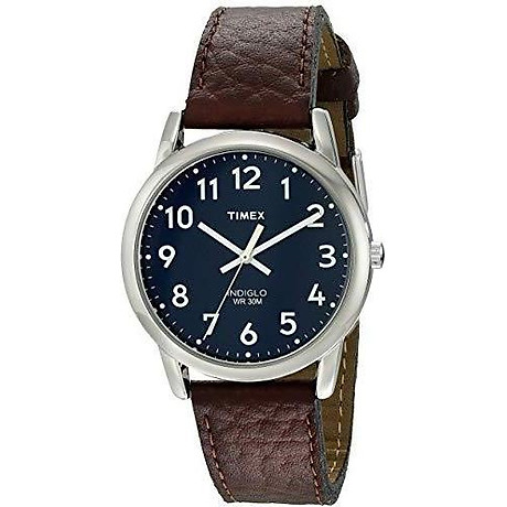 Timex Men s T2P319 Easy Reader Brown Leather Strap Watch 3