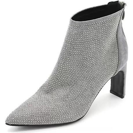 Giày Boot Nữ Đính Đá Gót 9P 2