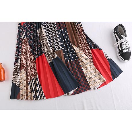 Chân váy xếp ly Vintage dáng dài chất không nhăn VAY35 phối nhiều màu (Free size) 6