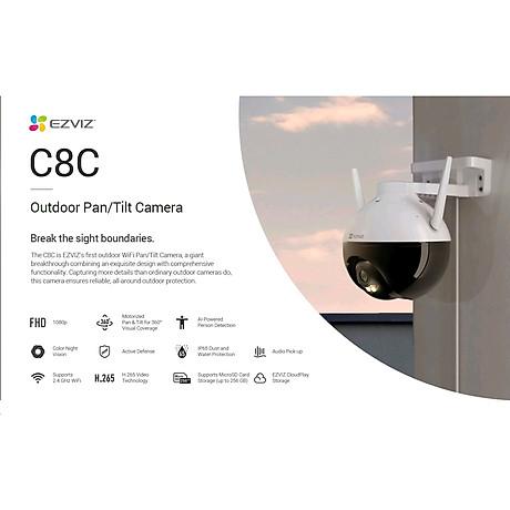 Camera IP Wifi PTZ EZVIZ C8C FHD 1080P - Xoay 355 độ, tích hợp AI nhận diện con người - ban đêm có màu - hổ trợ thẻ nhớ lên đến 256G - hàng nhập khẩu 3