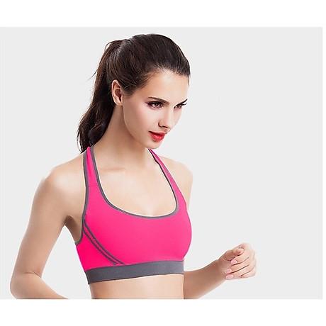 Bô quần áo fitness tập yoga, tập gym nữ cao cấp áo hai dây đan chéo sau lưng SR05 YG BH bộ hồng 3