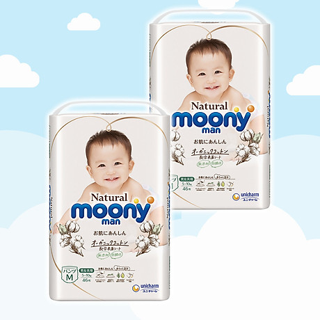 COMBO 2 Bỉm - Tã quần Moony Natural size M 46 miếng (Cho bé 5 - 10kg) 1