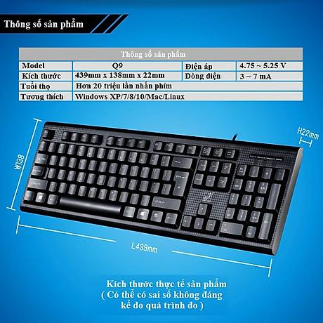 Bàn phím có dây Q9 dùng cho dân văn phòng, học sinh, sinh viên, chơi game 6