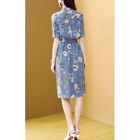 Đầm Jean Họa Tiết Bo Eo 3