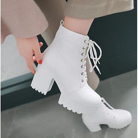 Giày Boot Trắng Gót 7 Phân 1