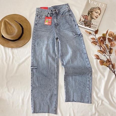 Quần Jeans Nữ Ống Rộng Phối Rách 270 1