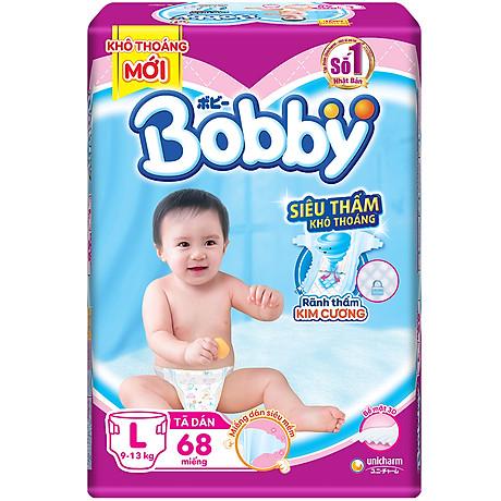 Tã Dán Bobby Siêu Mỏng Thấm Gói Siêu Lớn L68 (68 Miếng) 1