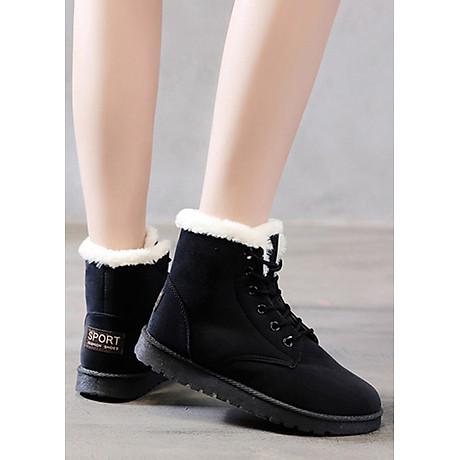 Giầy bốt nữ cổ ngắn, chất liệu da lộn lót lông ấm áp, thời trang trẻ, phong cách Hàn Quốc (Đen) 4