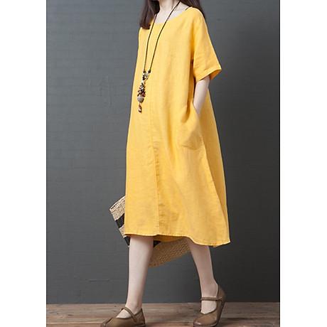 Đầm suông form rộng 2 túi sườn LAHstore, thích hợp mùa hè, thời trang trẻ, phong cách Hàn Quốc (Vàng) 1