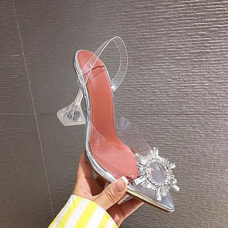 Giày Sandal Nữ Cao Gót Hoa Mặt Trời Trong Suốt Gót 5p Êm Chân kèm Tất Vớ Da Chân - Giày cao gót nữ quai trong hoa đá- mũi nhọn sang chảnh 2