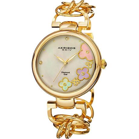 Akribos XXIV Women s Lady Diamond Watch - 14 Genuine Diamonds On a Mother-of-Pearl Dial with Chain Link Bracelet Watch - AK645 2