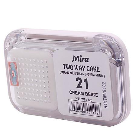 Phấn nén trang điểm siêu mịn Mira Two Way Cake Hàn Quốc 12g No.13 Bright Beige tặng kèm móc khoá 6