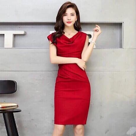 Đầm ôm đỏ cổ đổ ( dưới 60kg ) MAI017 1